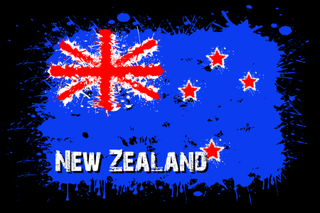 Flag of New Zeland from blots of paint in grunge style. Vector illustration