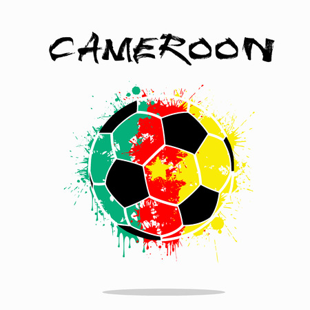Abstract soccer ball painted in the colors of the Cameroon flag. Vector illustration Illustration