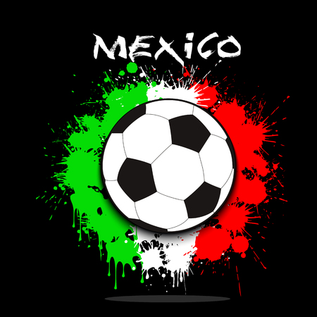 Soccer ball against the background of the Mexico and flag of paint blots. Vector illustration