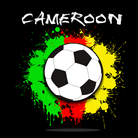 Soccer ball against the background of the Cameroon and flag of paint blots. Vector illustration