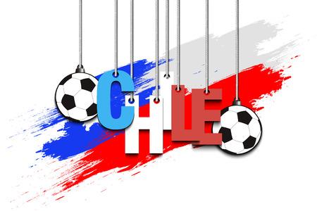 バナーの碑文チリとボール チリの国旗の背景にロープでハングアップする.ベクトル図