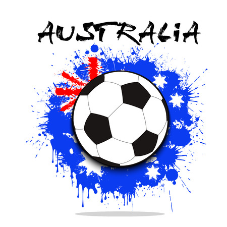 soccer goal: Soccer ball against the background of the Australia and flag of paint blots. Vector illustration