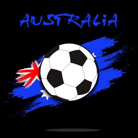 Soccer ball on the background of the Australia flag in grunge style. Vector illustration