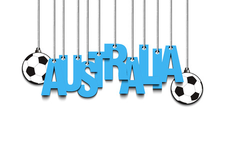 soccer goal: Banner the inscription Australia and ball hang on the ropes. Vector illustration