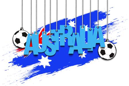 soccer goal: Banner the inscription Australia and ball hang on the ropes on the background of the Australia flag. Vector illustration