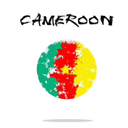 cameroon: Flag of Cameroon from blots of paint in grunge style. Vector illustration Illustration