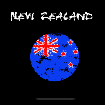 symbolics: Flag of New Zealand from blots of paint in grunge style. Vector illustration Illustration