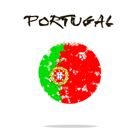 Flag of Portugal from blots of paint in grunge style. Vector illustration