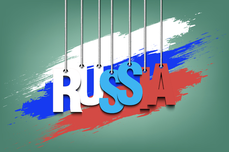 The word Russia hang on the ropes against the background of the Russian flag. Vector illustration