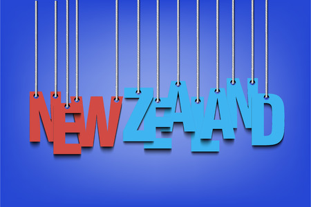 world championships: The word New Zealand hang on the ropes. Vector illustration