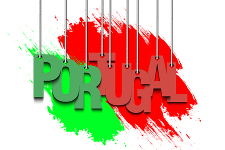inscriptions: The word Portugal hang on the ropes against the background of the portuguese flag. Vector illustration