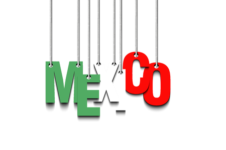 The word Mexico hang on the ropes. Vector illustration