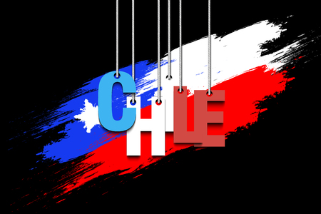 bandera chilena: The word Chile hang on the ropes against the background of the  chilean flag. Vector illustration