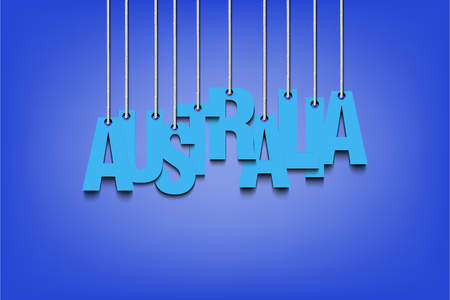 inscriptions: The word Australia hang on the ropes. Vector illustration
