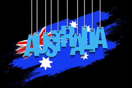 The word Australia hang on the ropes against the background of the australian flag. Vector illustration