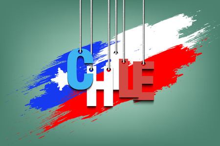 The word Chile hang on the ropes against the background of the  chilean flag. Vector illustration