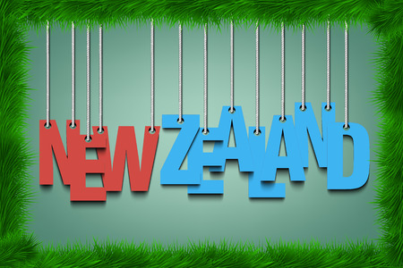 The word New Zealand hang on the ropes  in frame of grass. Vector illustration Illustration