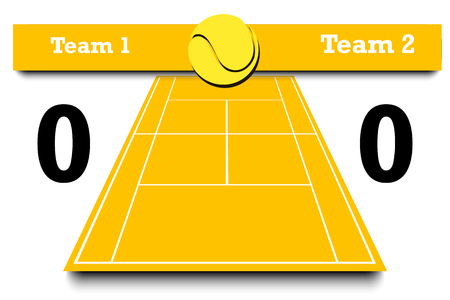 Score of the tennis match. Tennis match statistics. Result of the match. Infographic. Vector illustration Illustration
