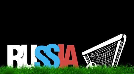 flag: Word russia and soccer ball in the gate on the grass. Vector illustration