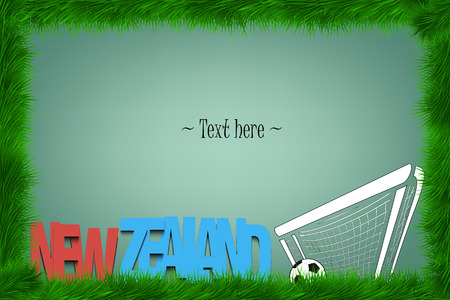country: A frame of grass with the word New Zealand and a soccer ball at the gate. Vector illustration