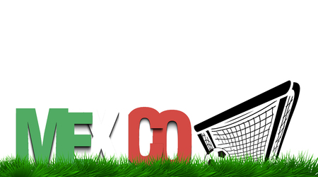 Word Mexico and soccer ball in the gate on the grass. Vector illustration