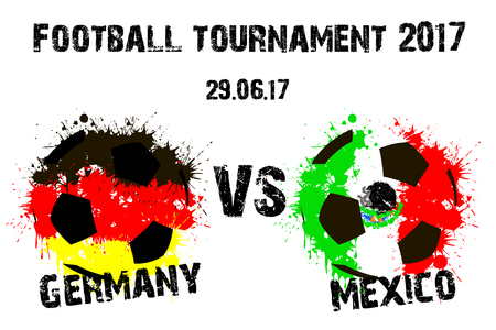 Banner voetbalwedstrijd Duitsland tegen Mexico. Vector illustratie