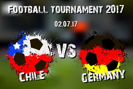 Banner football match Germany vs Chile. Vector illustration