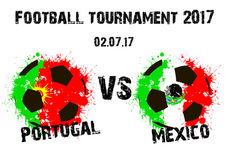 soccer goal: Banner football match Portugal vs Mexico. Vector illustration