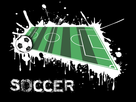 Abstract soccer background. Soccer ball and field on a background of blots of paint. Vector illustration