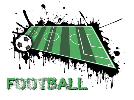 Abstract  football background. Soccer ball and field on a background of blots of paint. Vector illustration