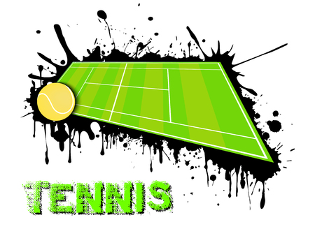 Abstract tennis background. Tennis ball and field on a background of blots of paint. Vector illustration