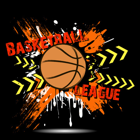 Banner the inscription basketball league on the background abstract basketball ball from blots. Grunge style. Vector illustration Illustration