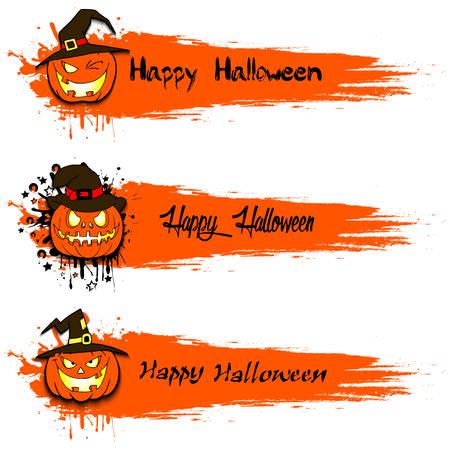 ominous: Set of grunge banners with happy Halloween and pumpkins