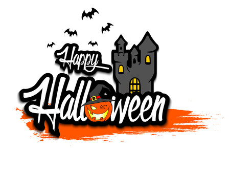 Banner happy halloween on isolated background. Vector illustration Illustration