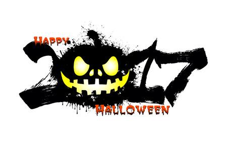 Halloween banner illustration of abstract number 2017 and halloween pumpkin blots.