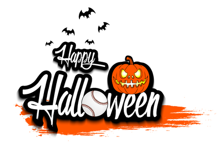 Banner happy halloween and baseball ball on isolated background. Vector illustration