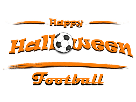 Banner happy halloween and soccer ball on isolated background. Vector illustration Illustration