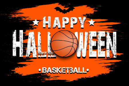 Banner happy halloween and basketball ball on isolated background. Vector illustration Illustration
