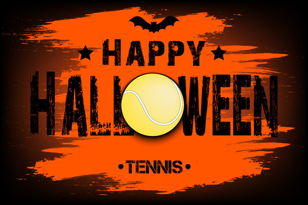 Banner happy halloween and tennis ball on isolated background. Vector illustration Illustration
