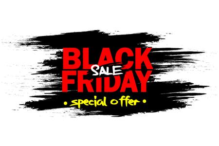 Black Friday banner. Black Friday Sale inscription template. Vector illustration  イラスト・ベクター素材