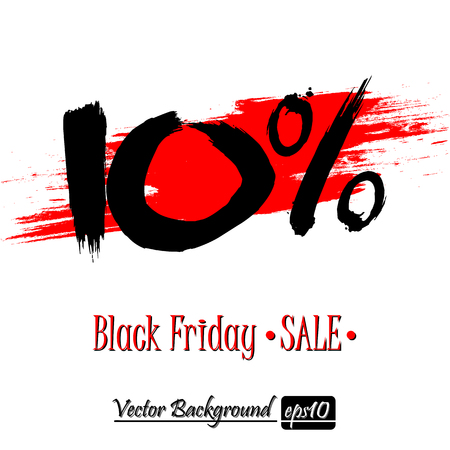 Black Friday banner. Black Friday Sale 10 percent inscription template on an isolated background. Vector illustration Illustration