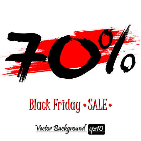 Black Friday banner. Black Friday Sale 70 percent inscription template on an isolated background. Vector illustration