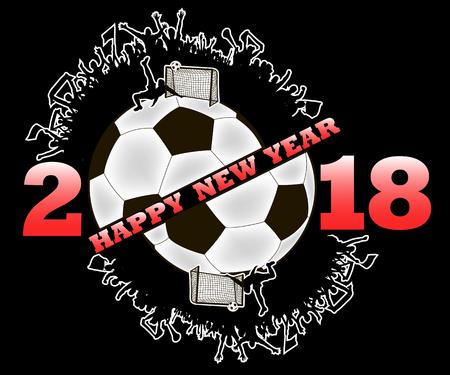 Feliz año nuevo 2018 y balón de fútbol con los fanáticos del fútbol. Ilustración vectorial Foto de archivo - 89586442