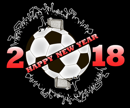 happy new year 2018 and soccer ball with football fans. Vector illustration
