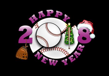 Gelukkig Nieuwjaar 2018 en honkbal met kerstboom, handschoen, vleermuis en hoed. Stock Illustratie