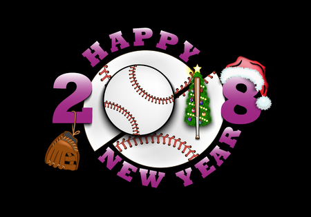 Happy New Year 2018 and baseball with Christmas tree, glove, bat and hat.