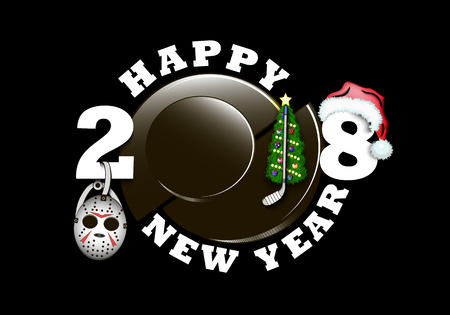 happy new year 2018 and hockey puck, mask, stick with Christmas tree  and hat. Vector illustration