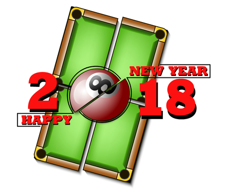 happy new year 2018 and billiard ball against the background of a billiard table. Vector illustration