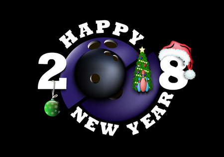 Happy new year 2018 and bowling ball with Christmas tree, ball, hat and skittles. Vector illustration Illustration