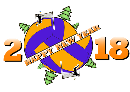 happy new year 2018 and volleyball with Christmas trees. volleyball player submits ball. Vector illustration Stock Illustratie